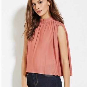 Blush Contemporary Mock Neck Shirred Top, Small